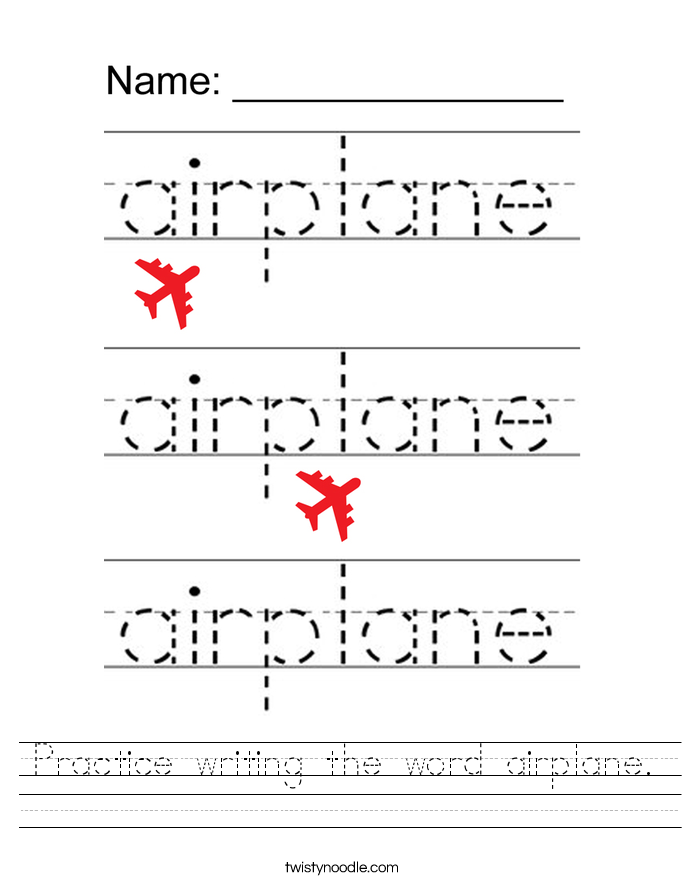 Practice writing the word airplane. Worksheet