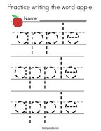 Practice writing the word apple Coloring Page