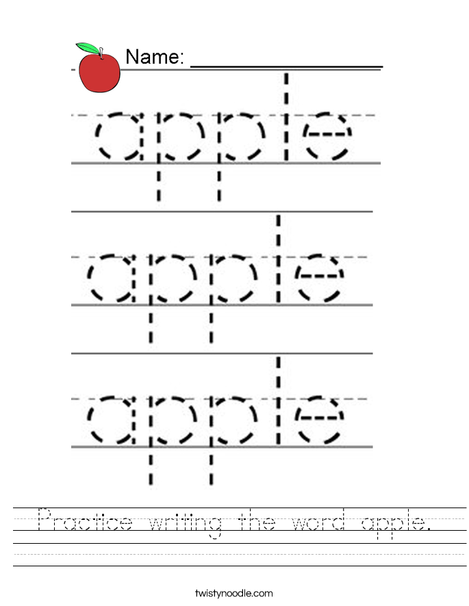 Practice writing the word apple. Worksheet