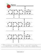 Practice writing the word apple Handwriting Sheet