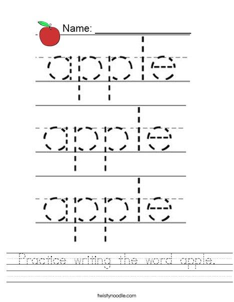 Practice writing the word apple. Worksheet