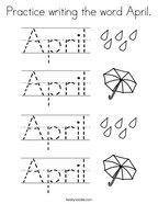 Practice writing the word April Coloring Page