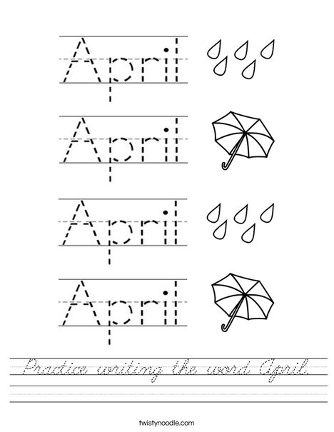 Practice writing the word April. Worksheet