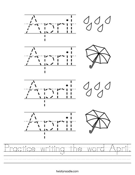 Number Names Worksheets worksheet writing : Practice writing the word April Worksheet - Twisty Noodle
