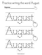 Practice writing the word August Coloring Page