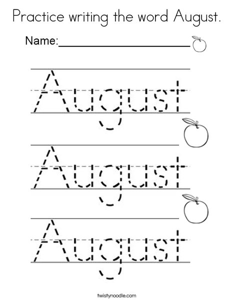 Practice writing the word August. Coloring Page