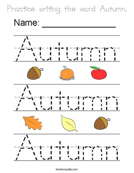 Practice Writing The Word Autumn Coloring Page