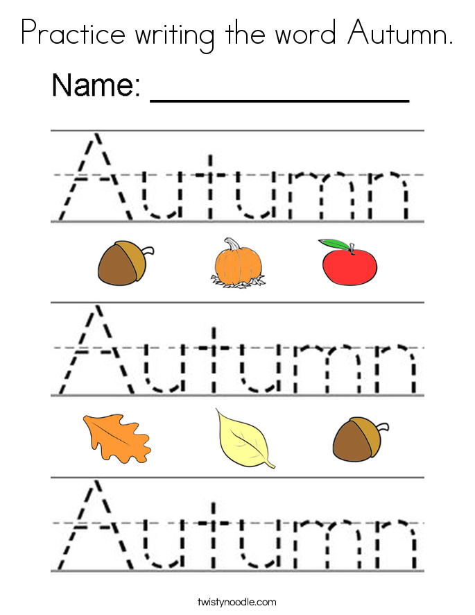 Practice writing the word Autumn. Coloring Page