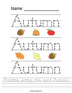 Practice writing the word Autumn Handwriting Sheet