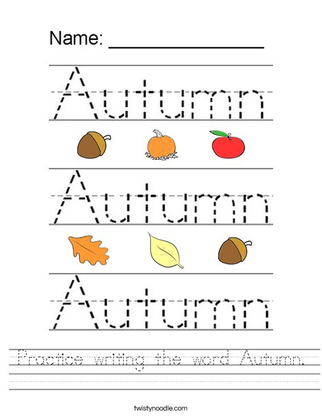 Practice writing the word Autumn. Worksheet