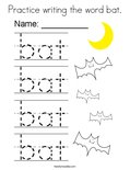 Practice writing the word bat. Coloring Page