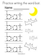 Practice writing the word bat Coloring Page