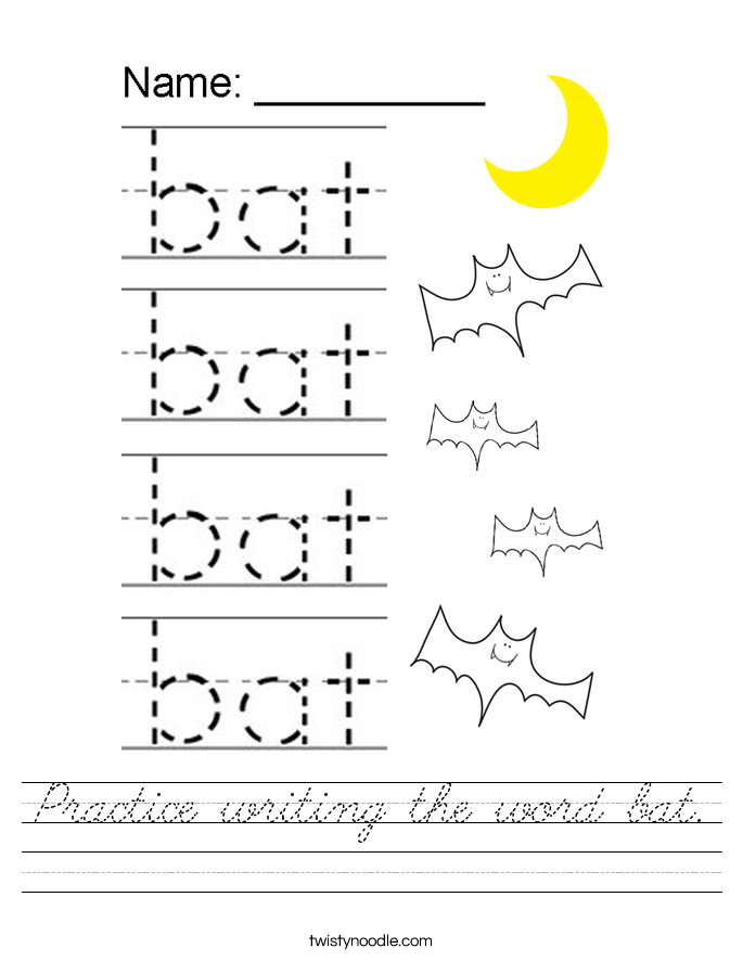 Practice writing the word bat. Worksheet