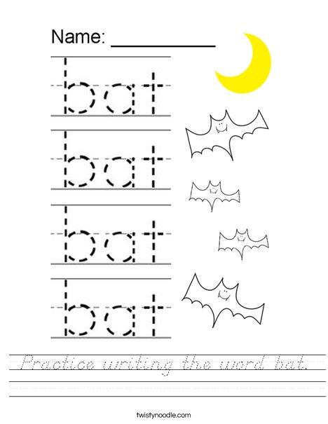 Practice writing the word bat. Worksheet
