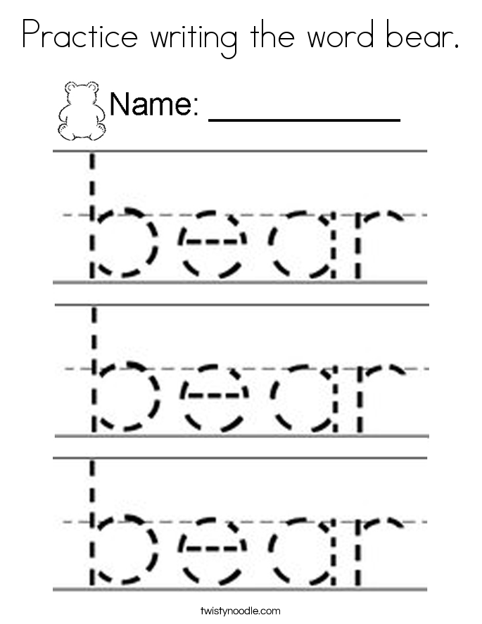 Practice writing the word bear. Coloring Page