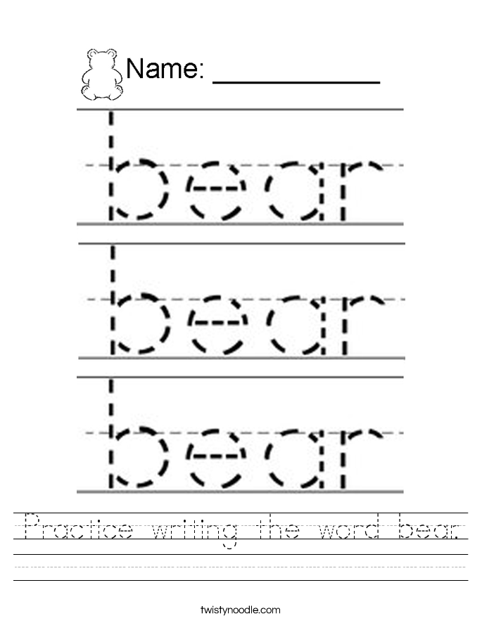Practice writing the word bear. Worksheet