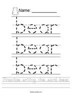 Practice writing the word bear Handwriting Sheet