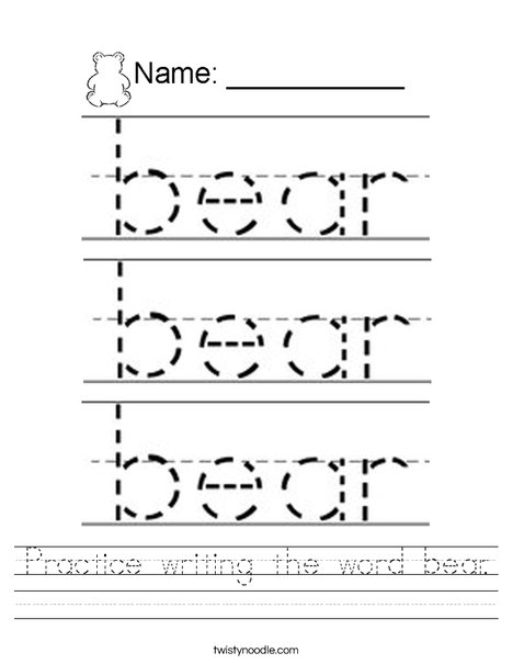 Practice writing the word bear. Worksheet