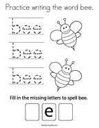 Practice writing the word bee Coloring Page