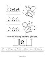 Practice writing the word bee Handwriting Sheet