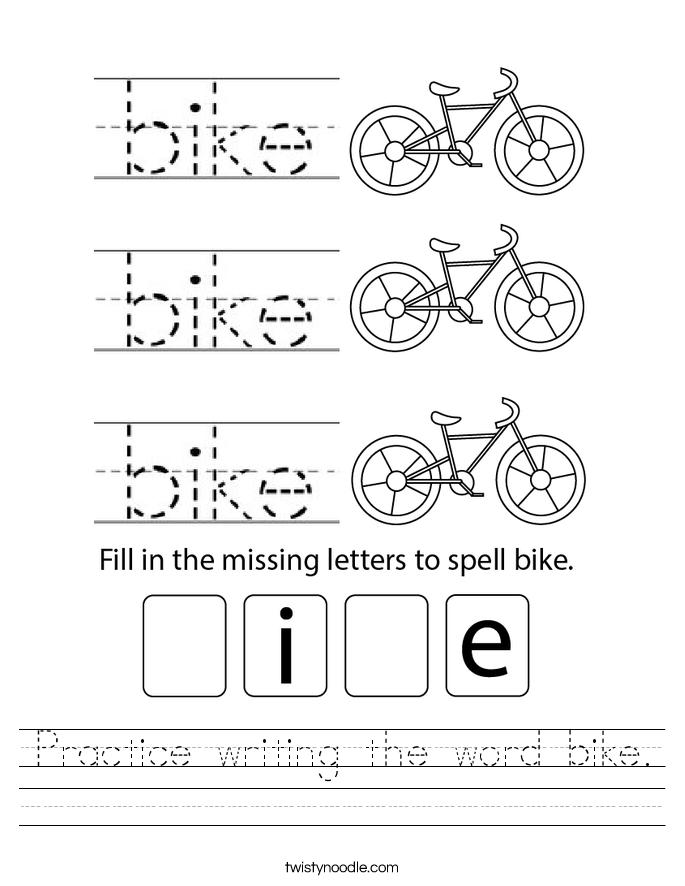 Practice writing the word bike. Worksheet