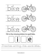 Practice writing the word bike Handwriting Sheet