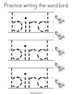 Practice writing the word bird Coloring Page