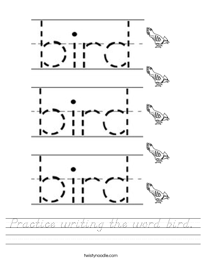 Practice writing the word bird. Worksheet