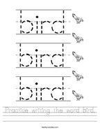 Practice writing the word bird Handwriting Sheet