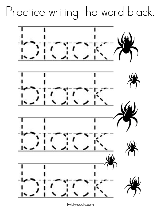 Practice writing the word black. Coloring Page