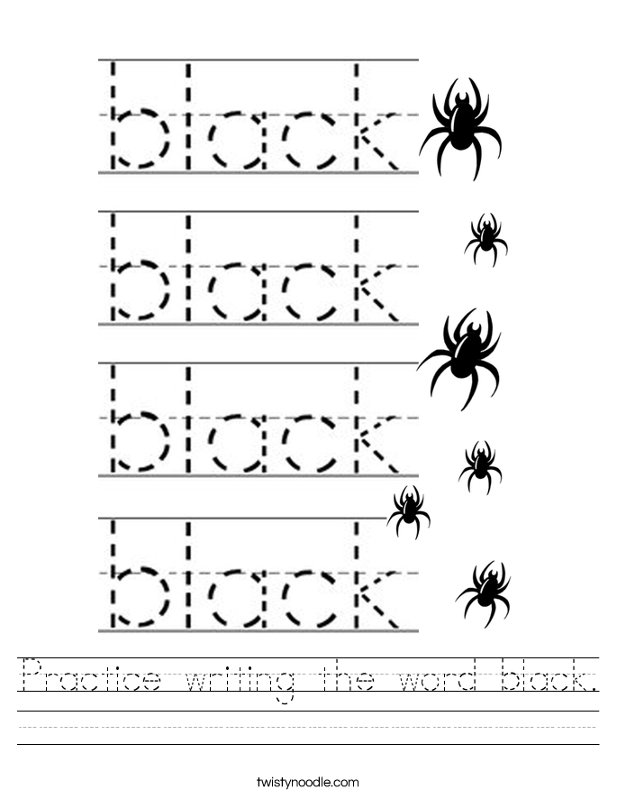 Practice writing the word black. Worksheet