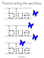 Practice writing the word blue Coloring Page