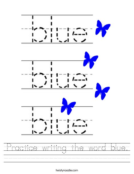 Practice writing the word blue. Worksheet