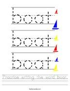 Practice writing the word boat Handwriting Sheet