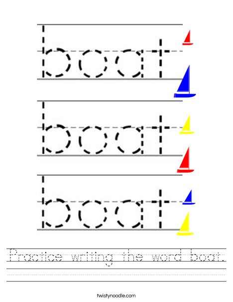 Practice writing the word boat. Worksheet