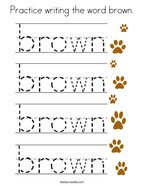 Practice writing the word brown Coloring Page