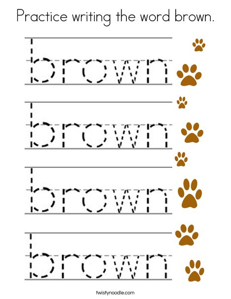 Practice writing the word brown. Coloring Page