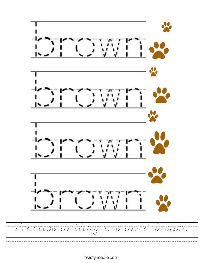 Practice writing the word brown. Worksheet