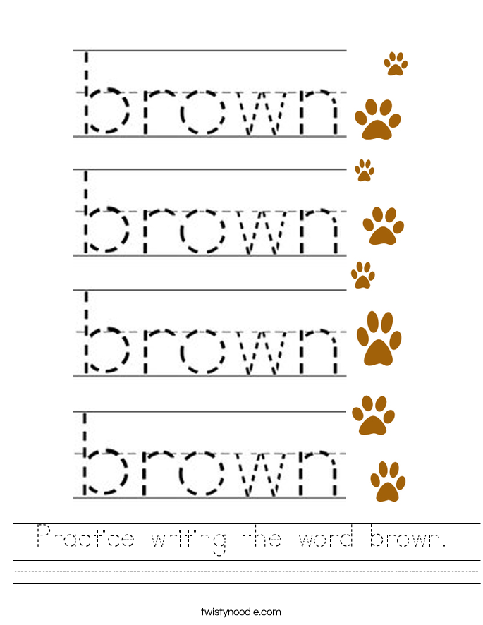 Practice writing the word brown. Worksheet
