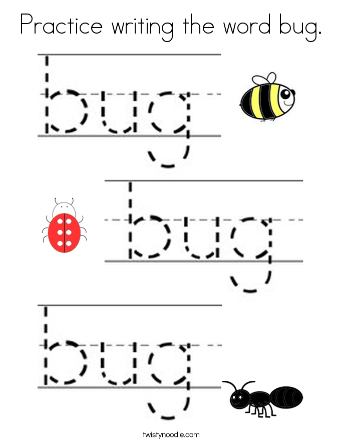Practice writing the word bug. Coloring Page