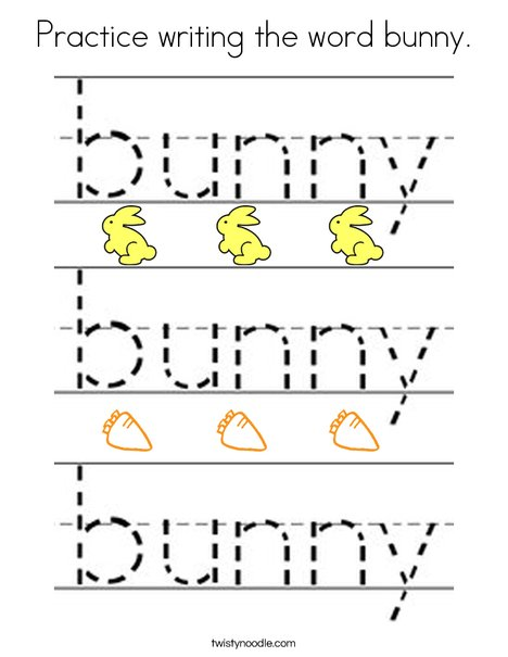Practice writing the word bunny. Coloring Page