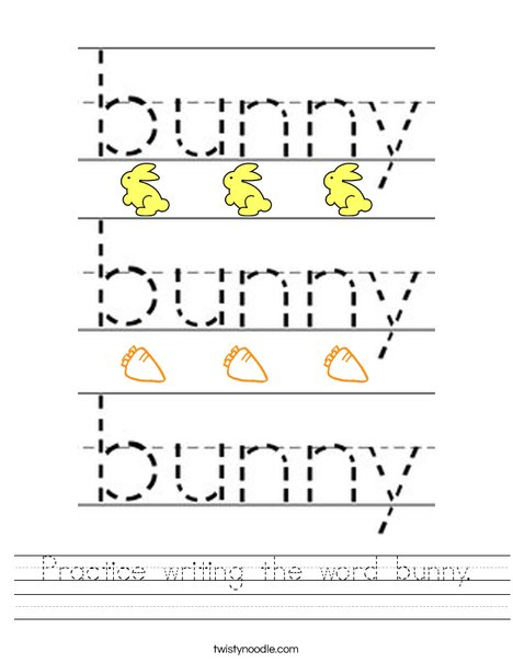Practice writing the word bunny. Worksheet