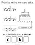 Practice writing the word cake. Coloring Page