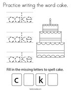Practice writing the word cake Coloring Page