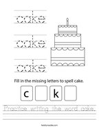 Practice writing the word cake Handwriting Sheet