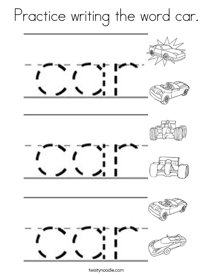 Practice writing the word car. Coloring Page