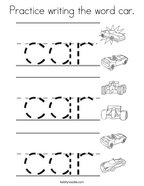 Practice writing the word car Coloring Page