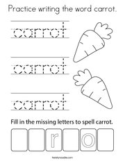Practice writing the word carrot Coloring Page