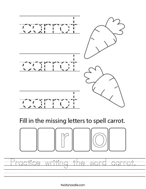 Practice writing the word carrot. Worksheet
