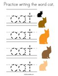 Practice writing the word cat. Coloring Page